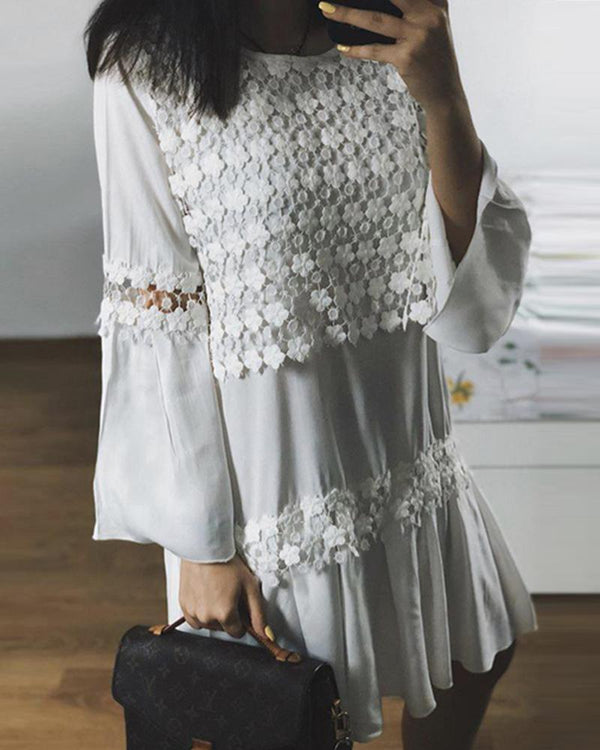 Floral Hollow Lace Flare Sleeve Mini Dress