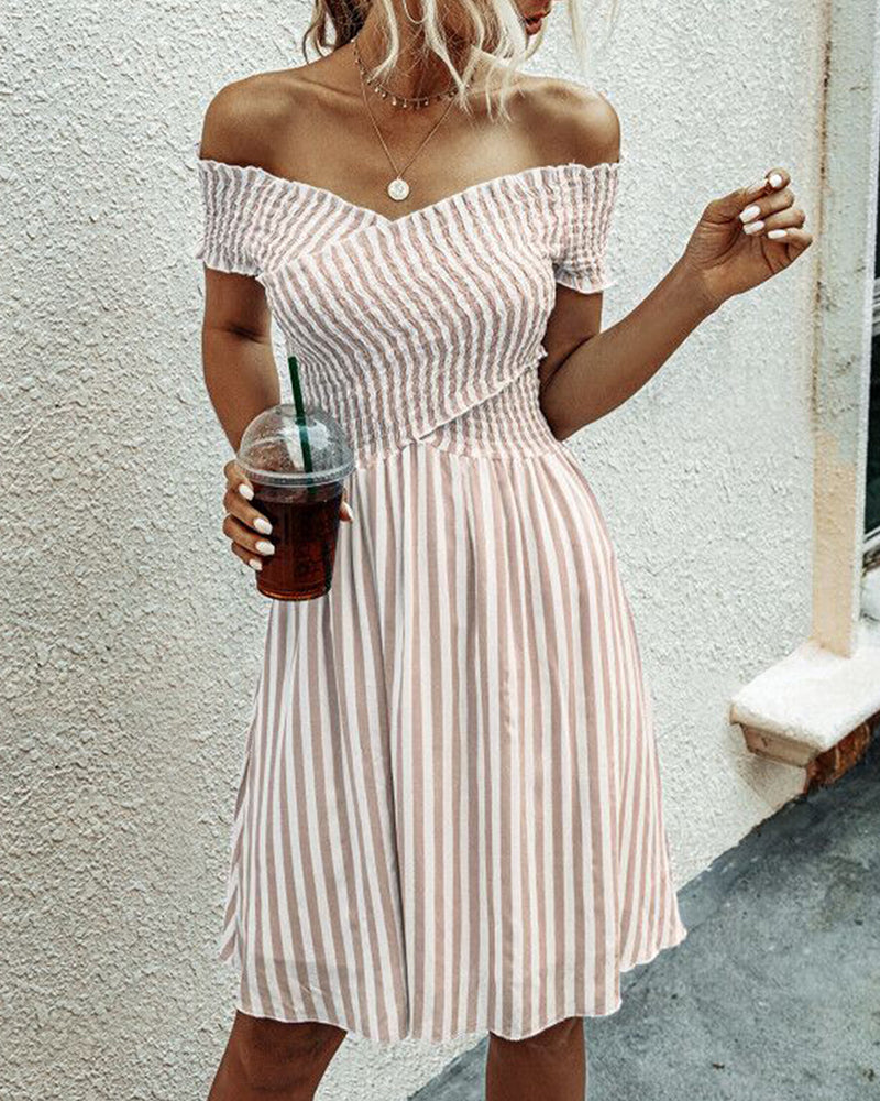 Striped Off Shoulder Casual Dress