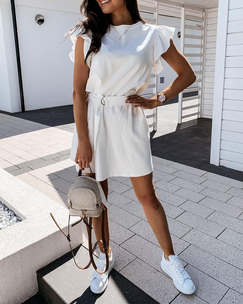 Ruffles Sleeve Round Neck Casual Dress