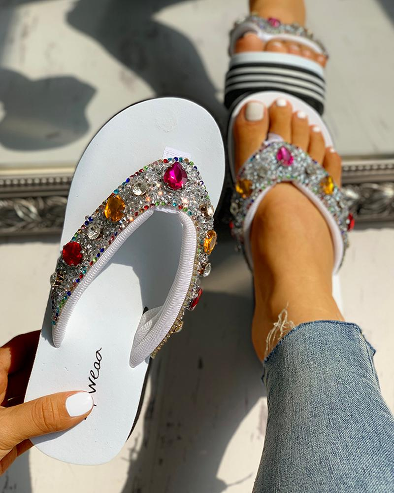 Diamante Trim Design Casual Platform Sandals