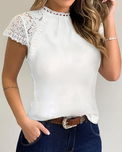 Lace Trim Casual Blouse