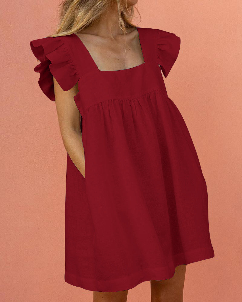 Square Neck Ruffle Sleeve Dress