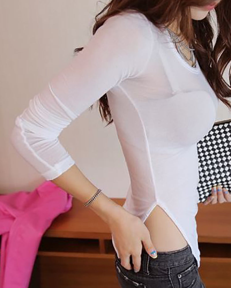 Solid Round Neck Long Sleeve Slit T-shirt