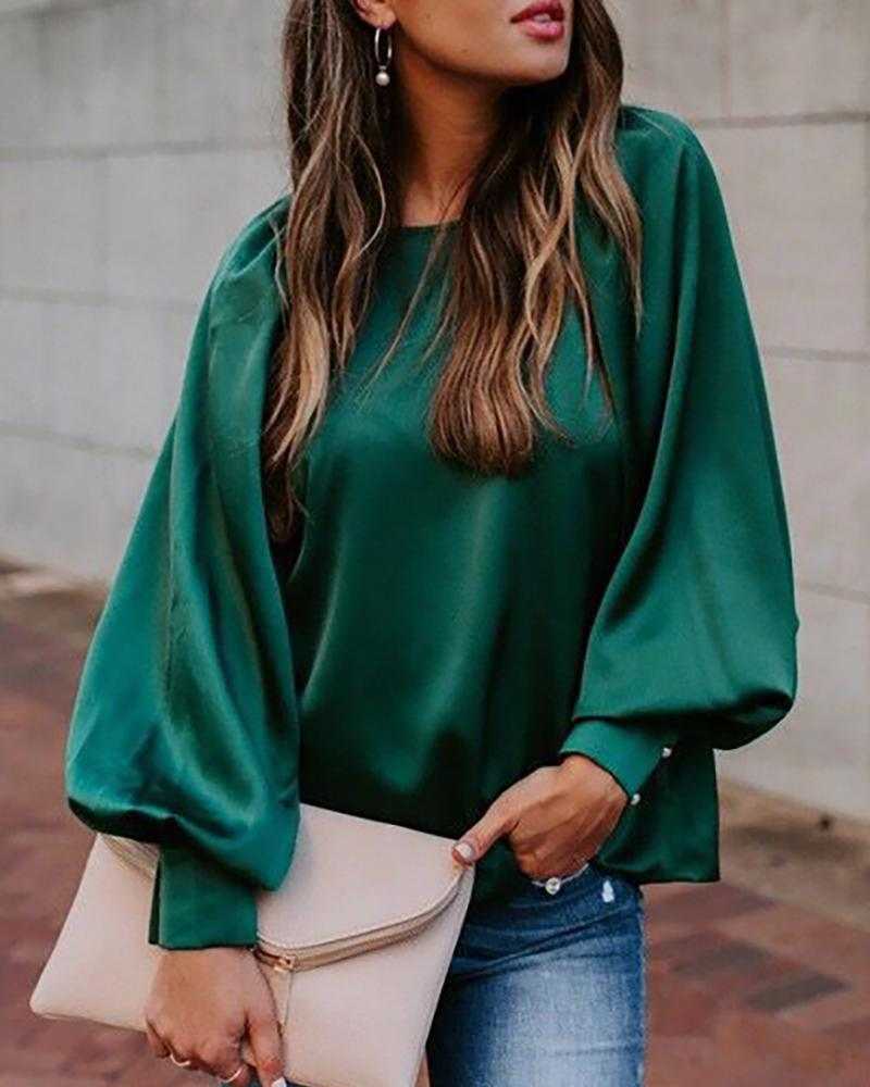 Solid Lantern Sleeve Popper Sleeve Blouse