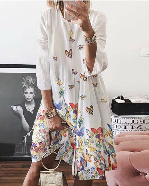 Butterfly Print Long Sleeve Casual Dress