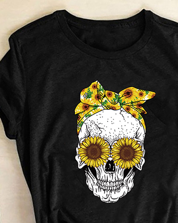 Skull Print Sunflower Pattern Short Sleeve Casual T-shirt