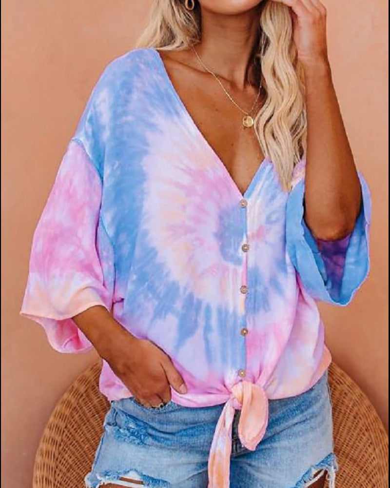Tie Dye Print Tie Front Buttoned T-shirt