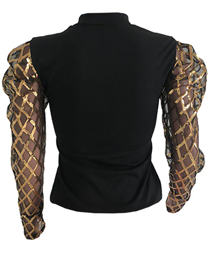 Mesh Hollow Out Mouth Pattern Blouse