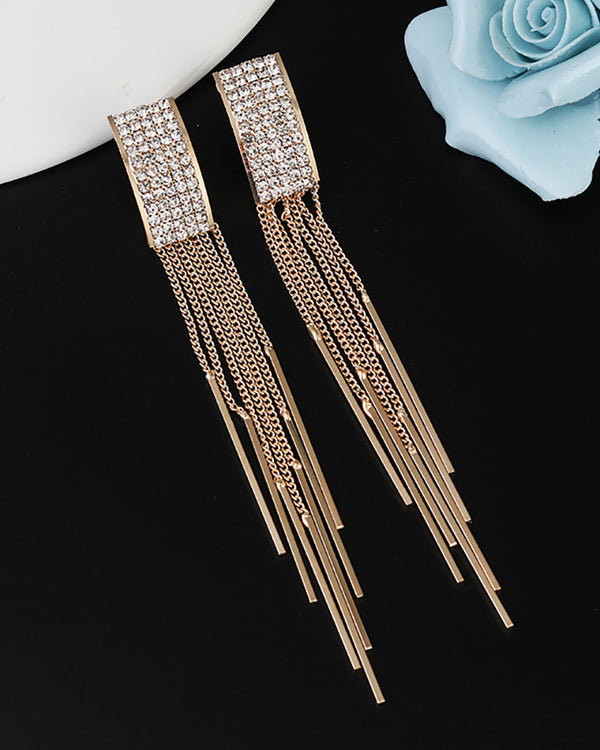 Studded Tassel Geometry Pattern Dangle Drop Earring