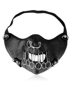 Breathable Nose Ring Punk Leather Motorcycle Biker Face Mask