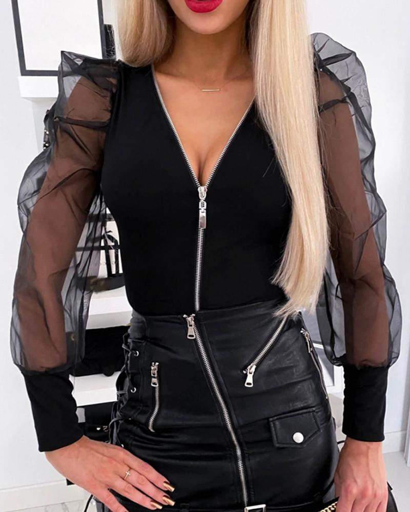 Sheer Mesh Zipper Front Blouse