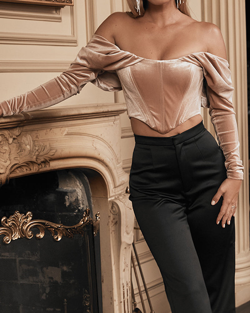 Off Shoulder Ruched Bodice Velvet Blouse