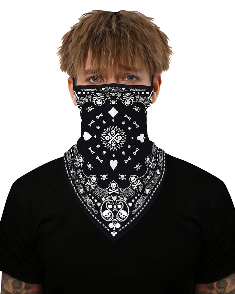 Print Breathable Ear Loop Face Cover Windproof Outdoors Bandana