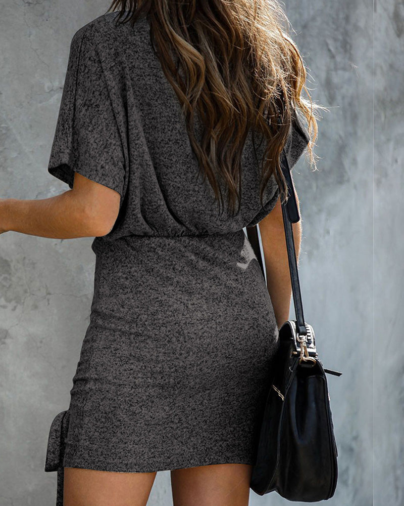 Round Neck Drawstring Casual Dress