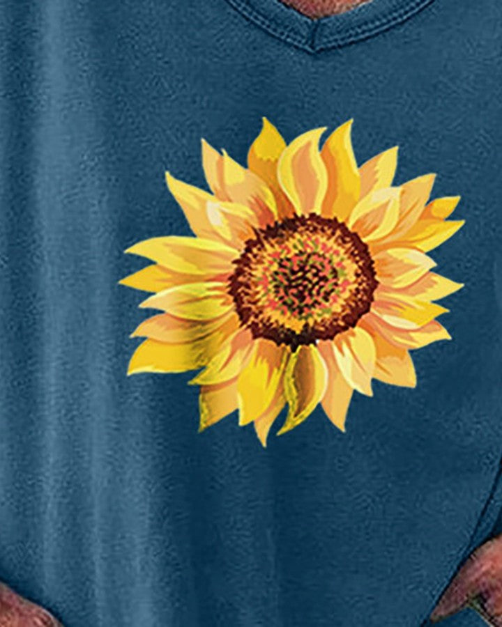 V Neck Sunflower Print Casual T-shirt