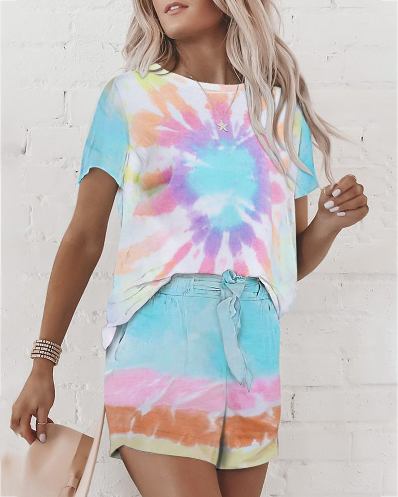 Short Sleeve Tie Dye Print Pajamas Set