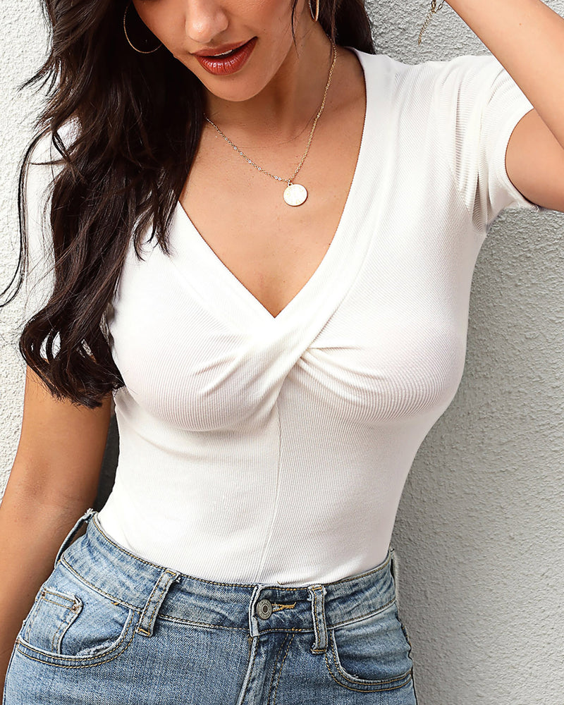 Twisted V-neck Solid Casual T-shirt