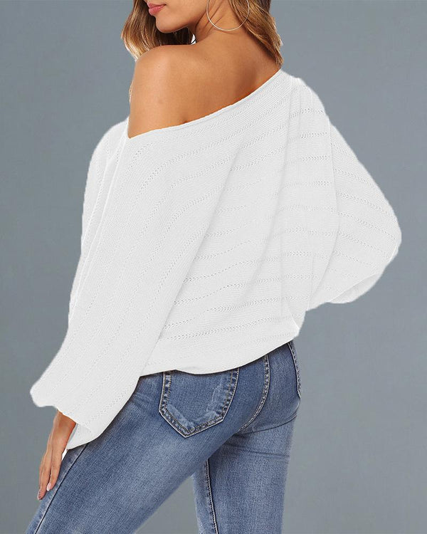 Skew Neck Lantern Sleeve Hollow Out Sweater