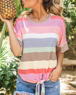 Colorful Striped Tied Detail T-shirt