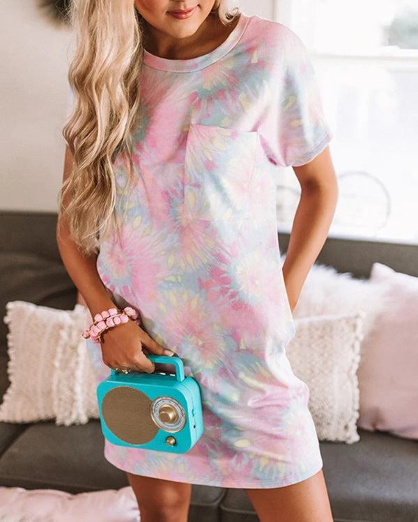 Tie Dye Print Pocket Casual Dress