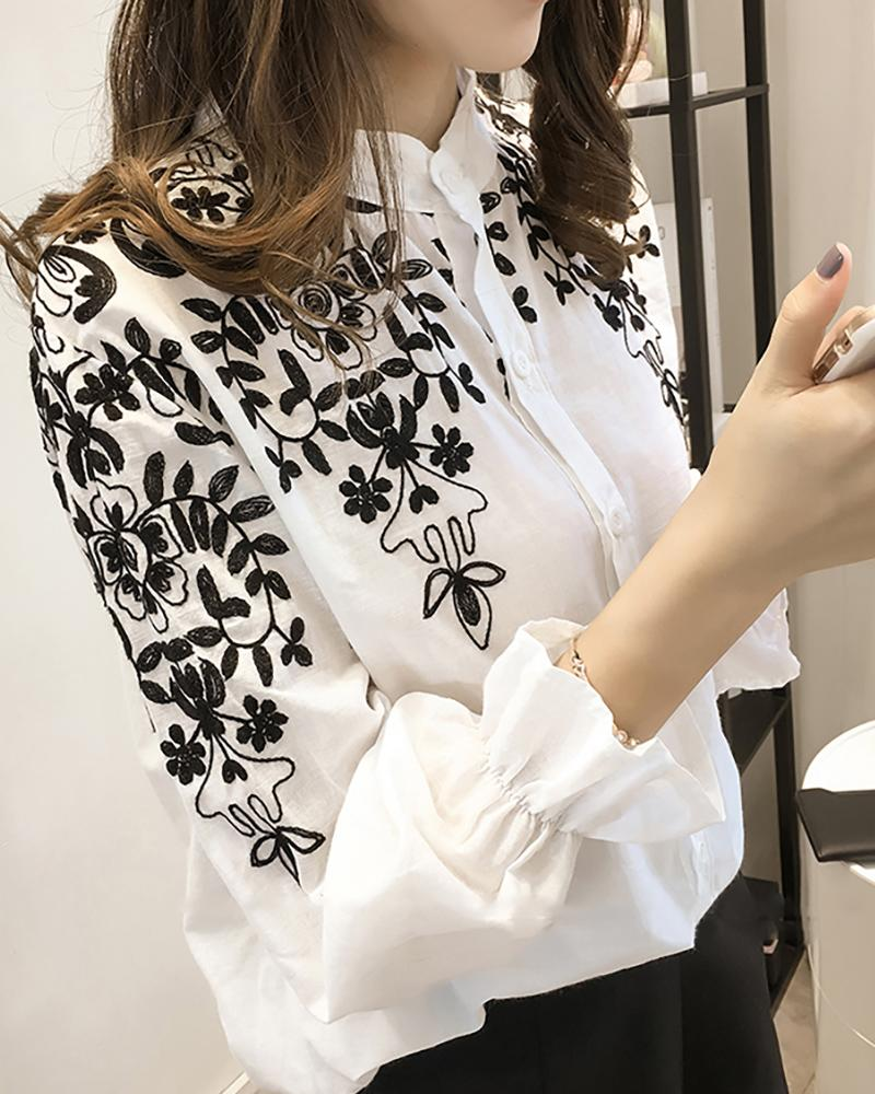Flower Embroidery Stand Neck Long Sleeve Shirt
