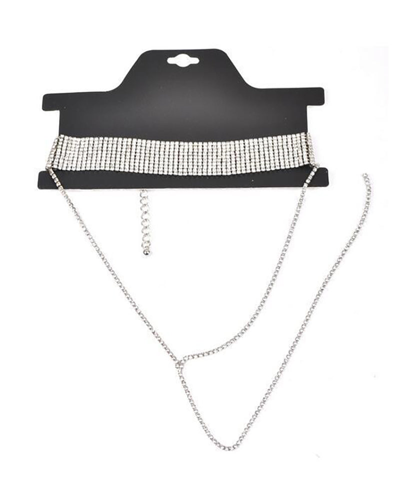 Wide Rhinestone Pendant Choker Necklace