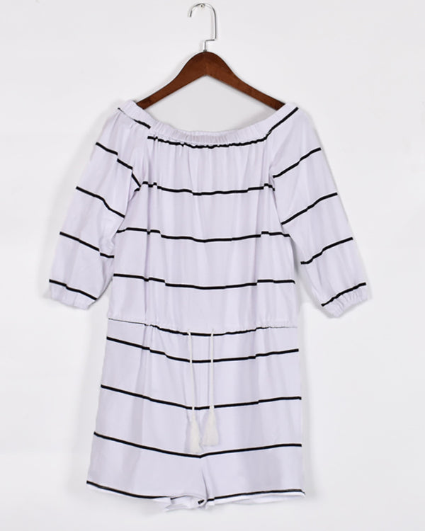 Off Shoulder Striped Drawstring Casual Romper