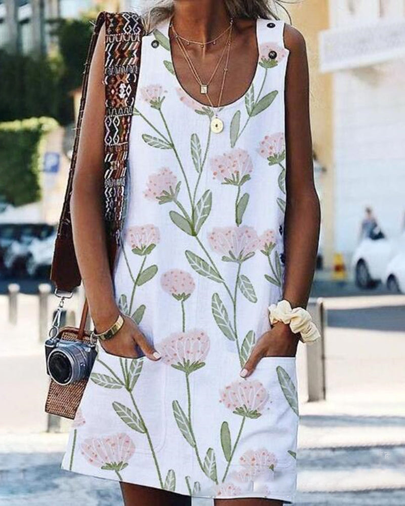 Floral Print Pockets Sleeveless Dress