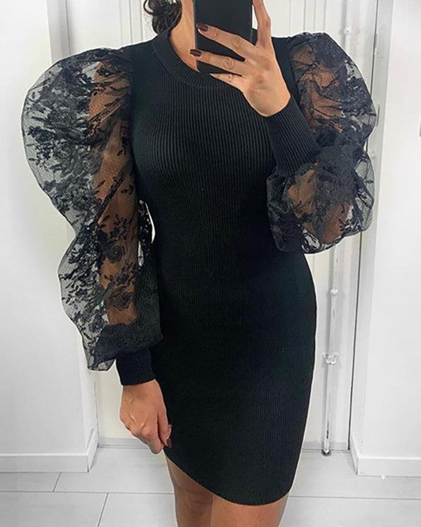 Mesh Floral Embroidery Puffed Sleeve Sweater Dress