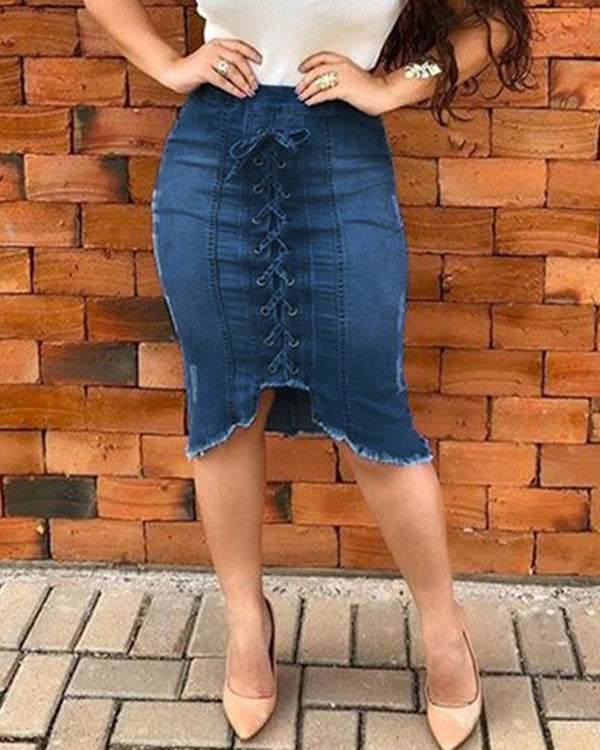 Denim Eyelet Lace-up Zipper Irregular Skirt