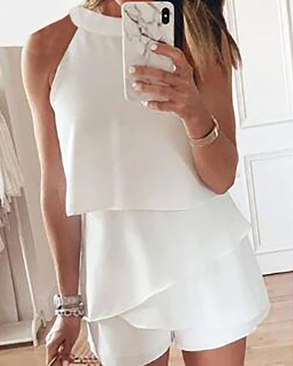 Solid Round Neck Ruffles Casual Romper
