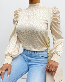 Leopard Print Long Sleeve Satin Top