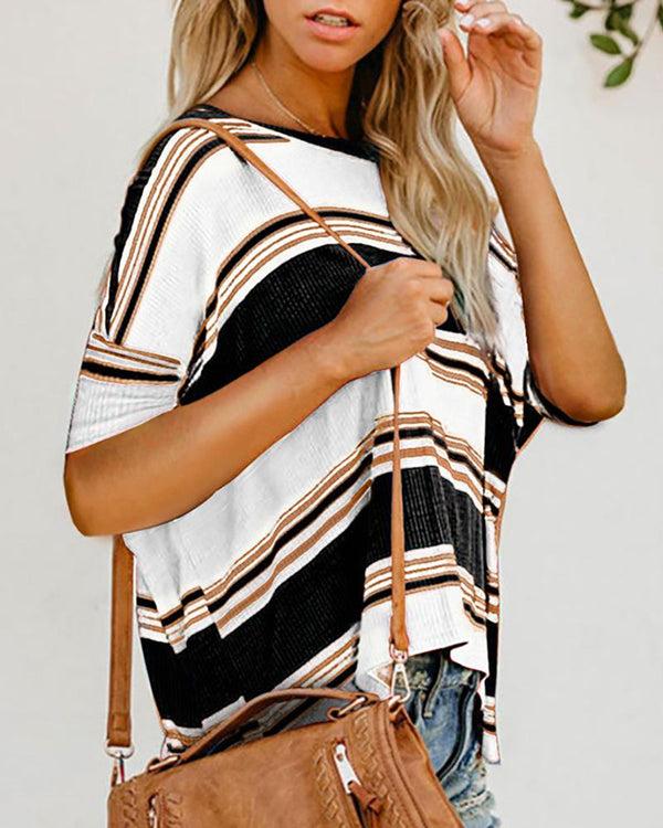 Striped Colorblock One Shoulder Casual T-shirt