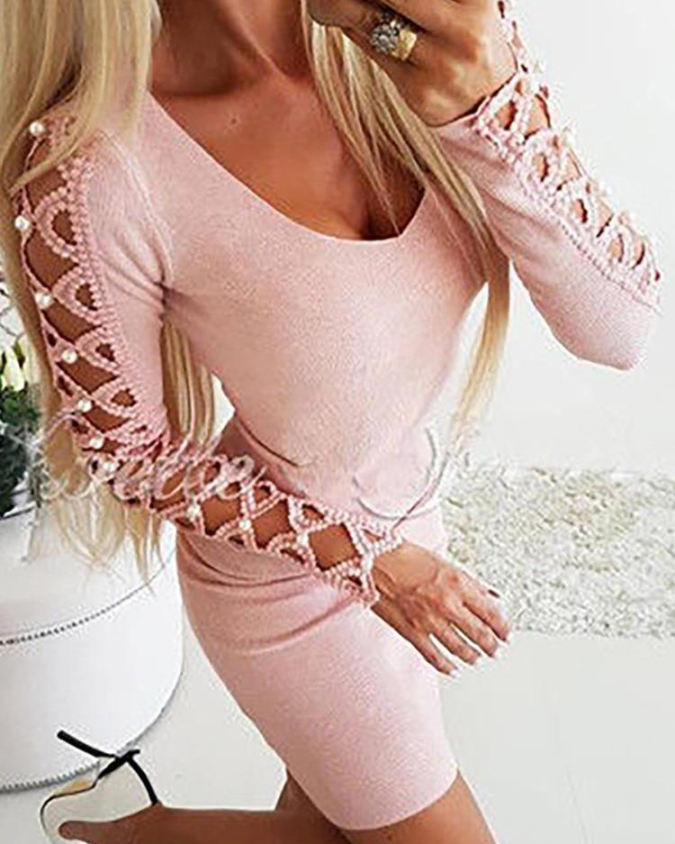 Hollow Out Beaded Embellished Long Sleeve Dress