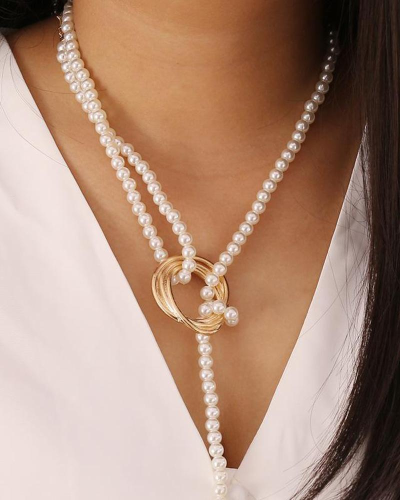 Geometric Metal Pearl Necklace