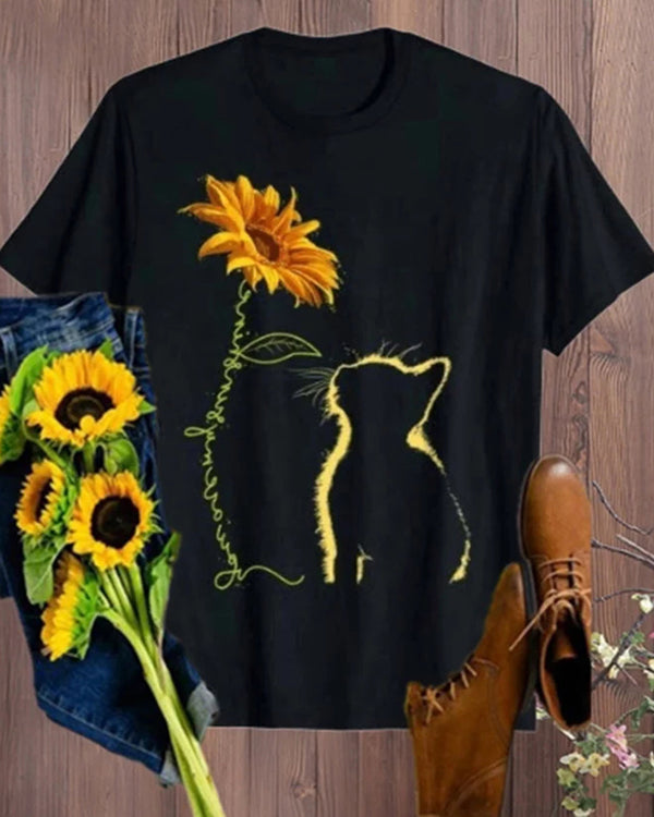 Cat Sunflower Print Short Sleeve T-shirt