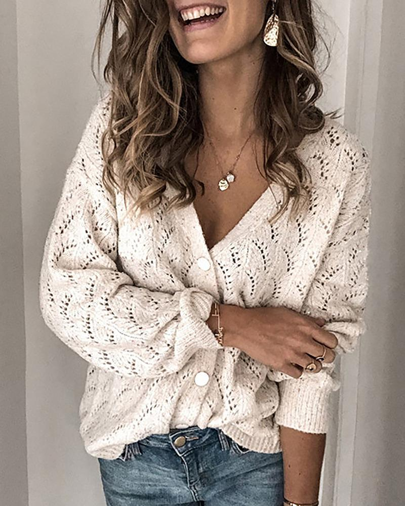 Buttoned Hollow Out V-Neck Blouse