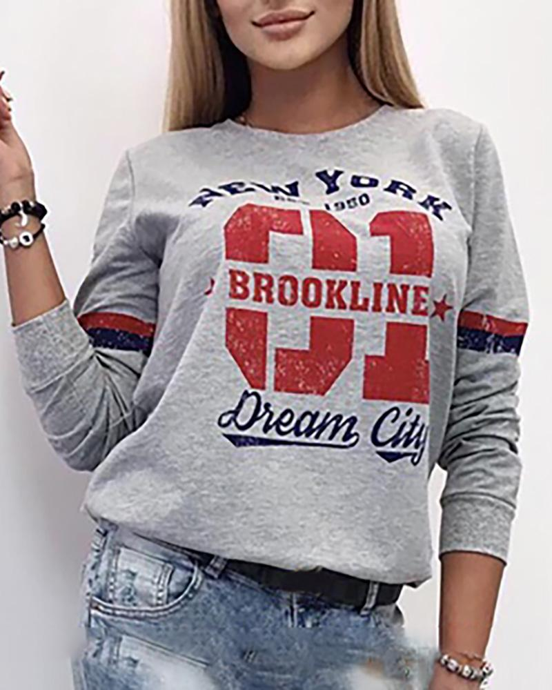 Letter Print Long Sleeve Casual Blouse