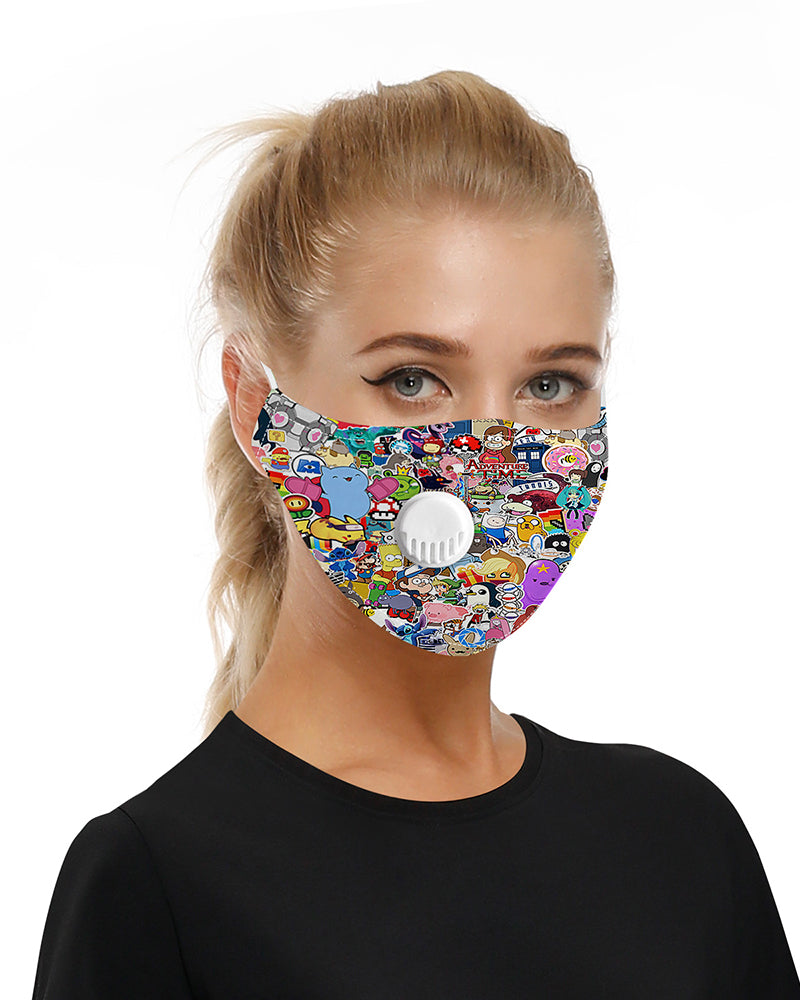 Cartoon Print Breathing Washable Valve Face Mask (2 filters as gift) Without Cord Lock Toggles