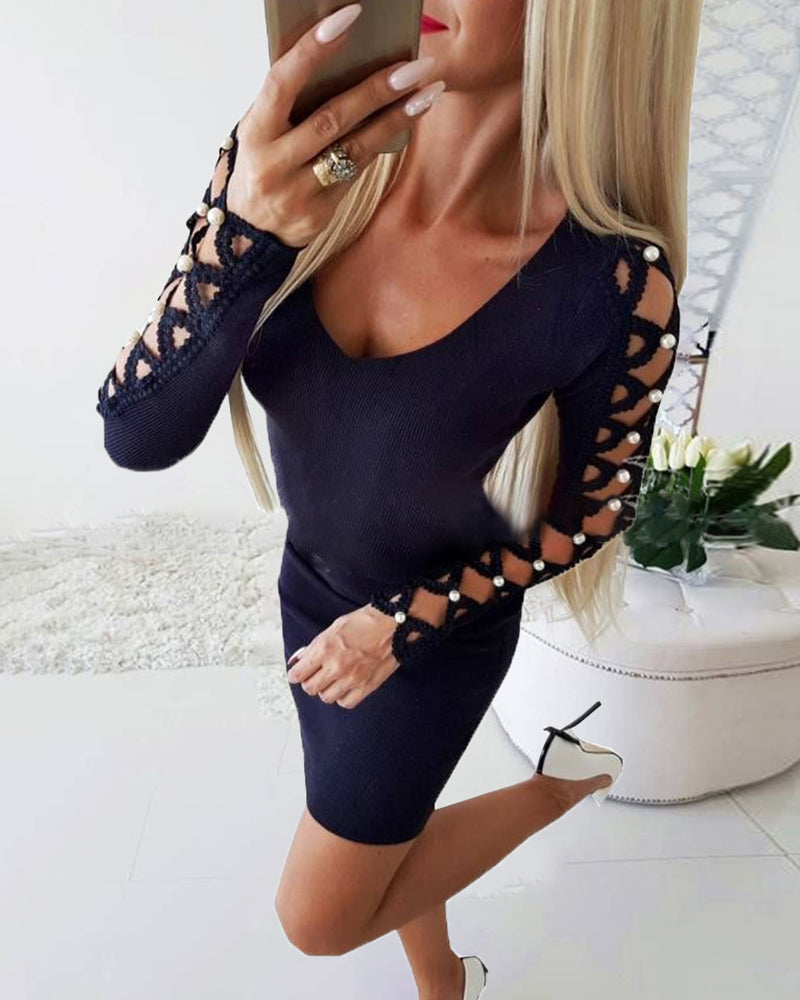 Beaded Lace-Up Long Sleeve Bodycon Dress