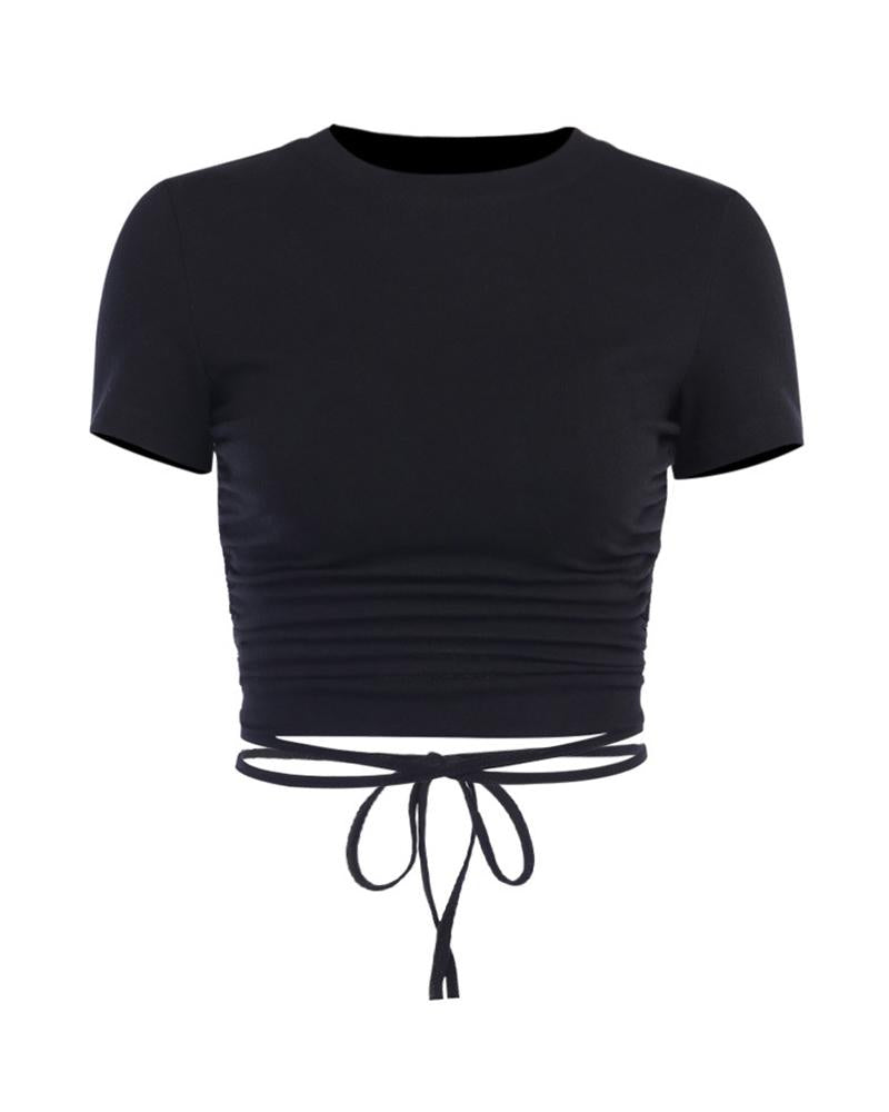 Solid Round Neck Open Back T-shirt