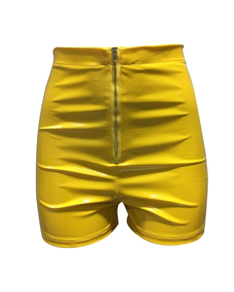 Summer Pu Leather Slim Elastic Short Pants