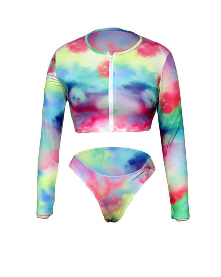 Tie Dye Long Sleeve Zipper Tankini Set