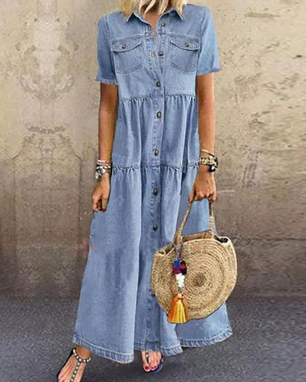 Buttoned Pocket Design Denim Casual Dress