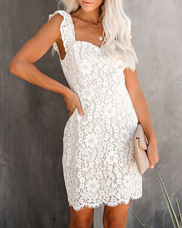 Crochet Lace Frill Hem Thick Strap Dress