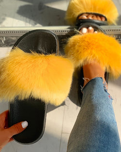 Peep Toe Fluffy Flat Slipper Sandals
