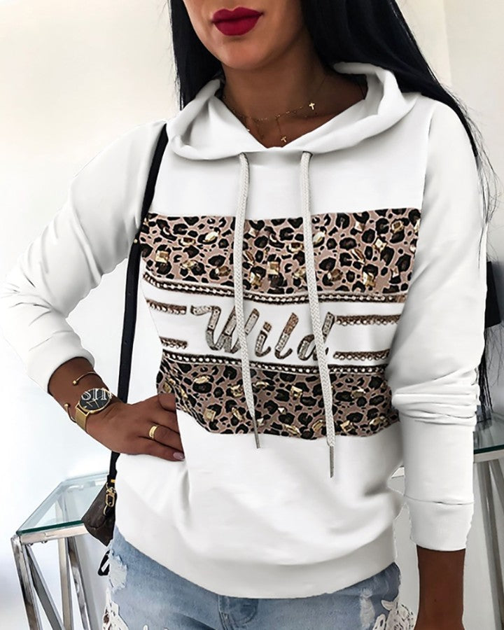 Hooded Drawstring Leopard Hot Stamping Sweatshirt