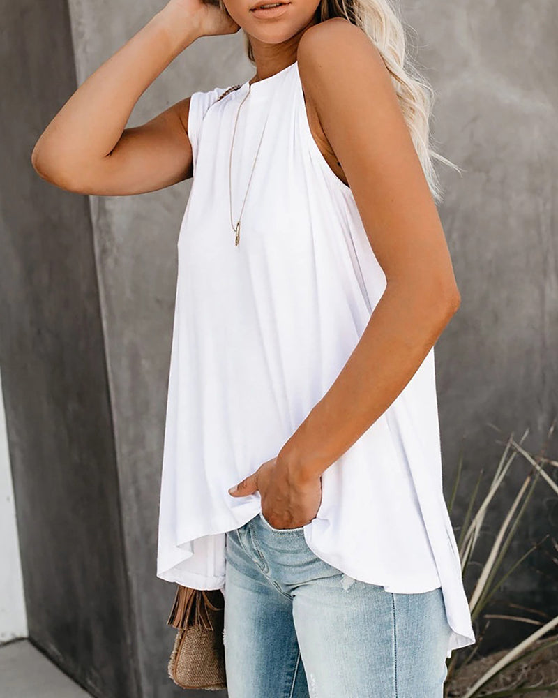 Solid Casual Irregualr Tank Top