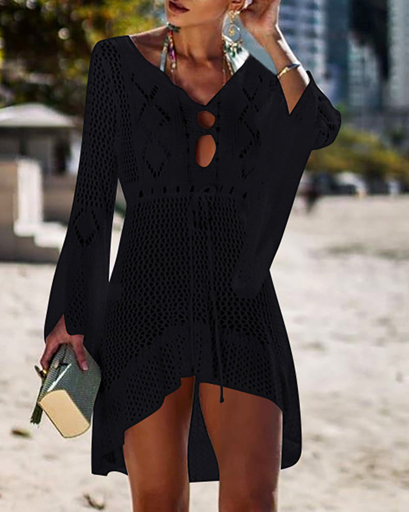 Hollow Out Knitted Cover Up
