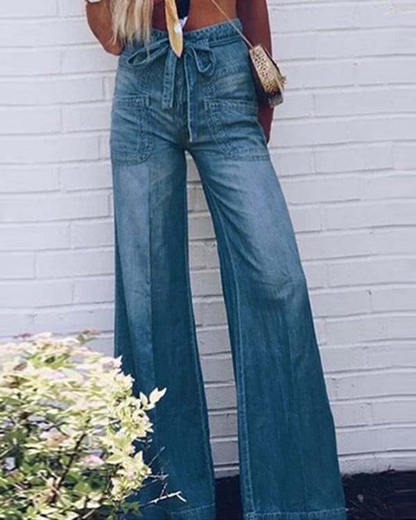 Pockets Casual Wide Leg Denim Pants